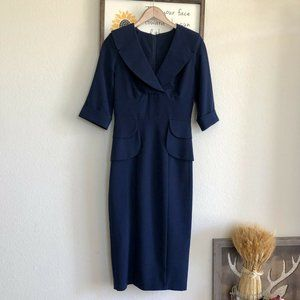 Stop Staring Fitted Dress Pinup Wiggle Navy Midi